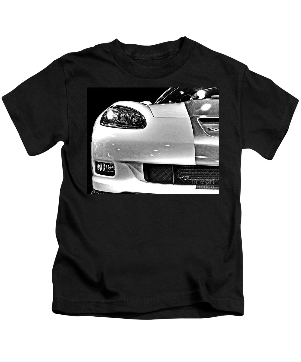 Corvette Kids T-Shirt featuring the photograph Vette In Black And White by Tom Gari Gallery-Three-Photography