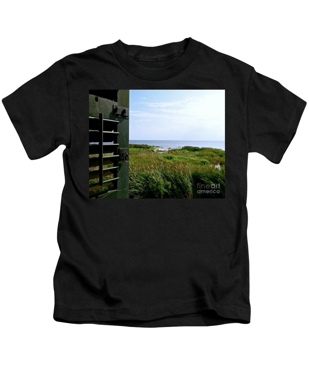 East Point Lighthouse Kids T-Shirt featuring the photograph View From The Window At East Point Light by Nancy Patterson