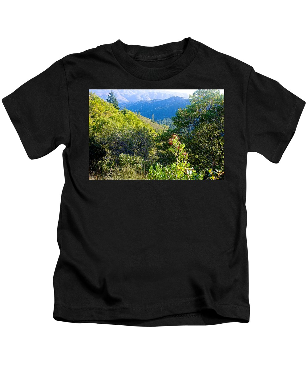 View From Trail To West Point Inn On Mount Tamalpias Kids T-Shirt featuring the photograph View From Trail To West Point Inn On Mount Tamalpais-california by Ruth Hager