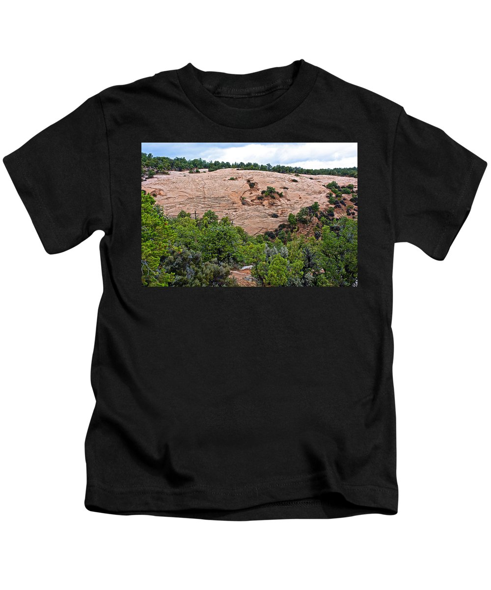 View Of Rock Dome Surface From Sandal Trail Across The Canyon In Navajo National Monument Kids T-Shirt featuring the photograph View Of Rock Dome Surface From Sandal Trail Across The Canyon In Navajo National Monument-arizona by Ruth Hager