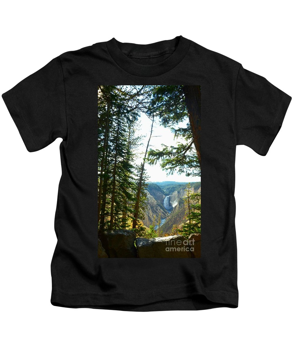 Yellowstone Kids T-Shirt featuring the photograph View Of The Canyon by Kathleen Struckle