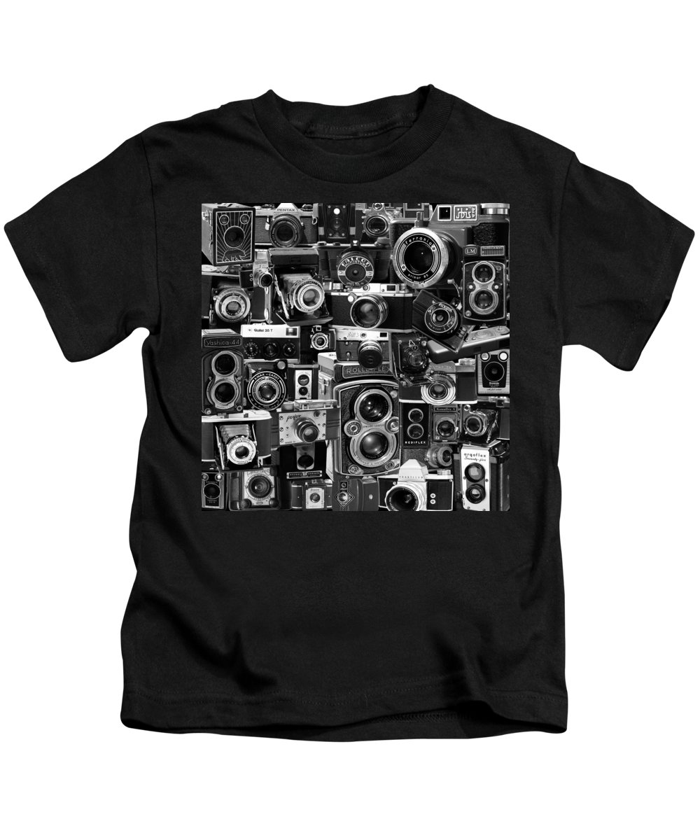 Cameras Kids T-Shirt featuring the photograph Vintage Camera Montage by Andrew Fare