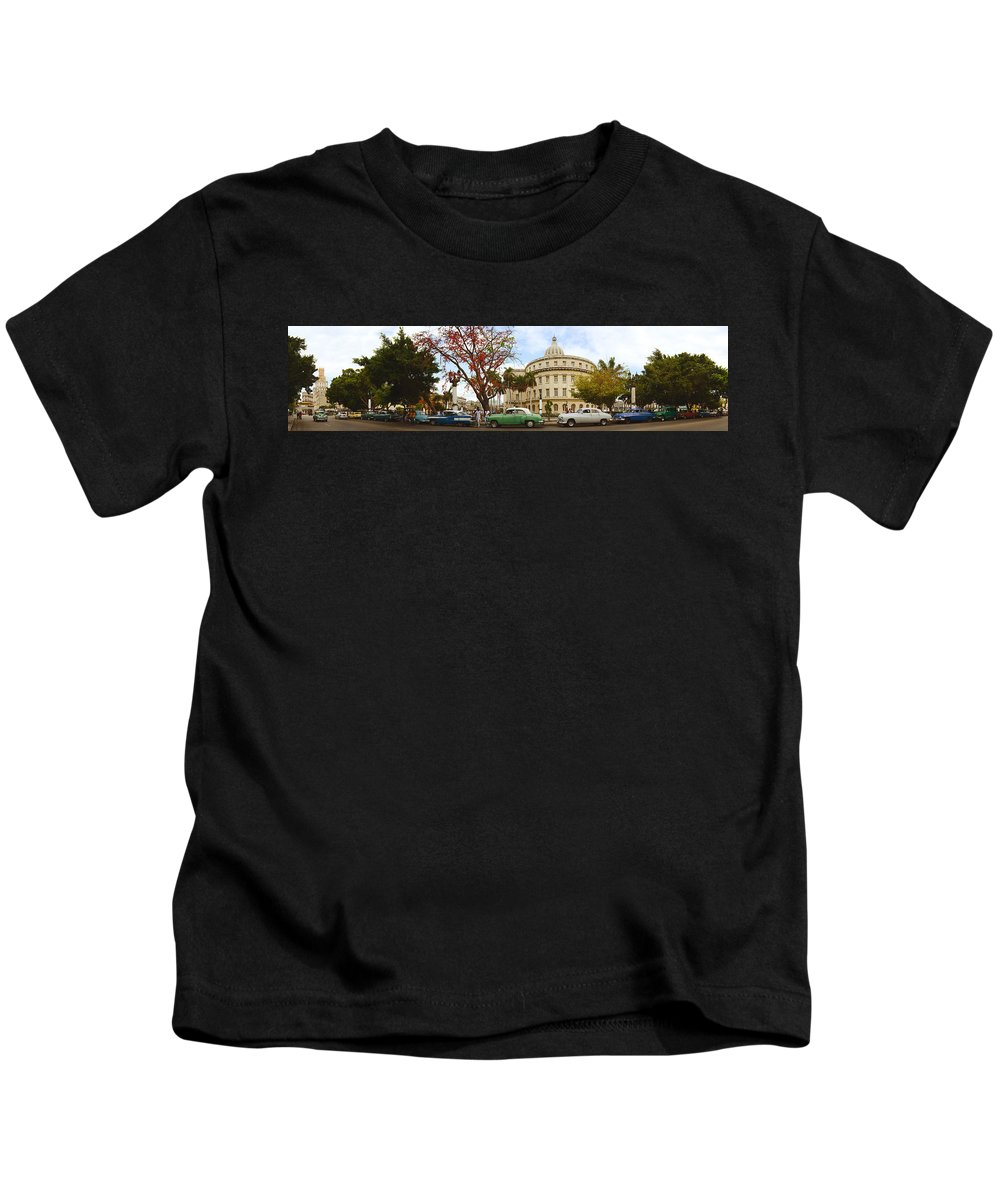 Photography Kids T-Shirt featuring the photograph Vintage Cars Parked On A Street by Panoramic Images