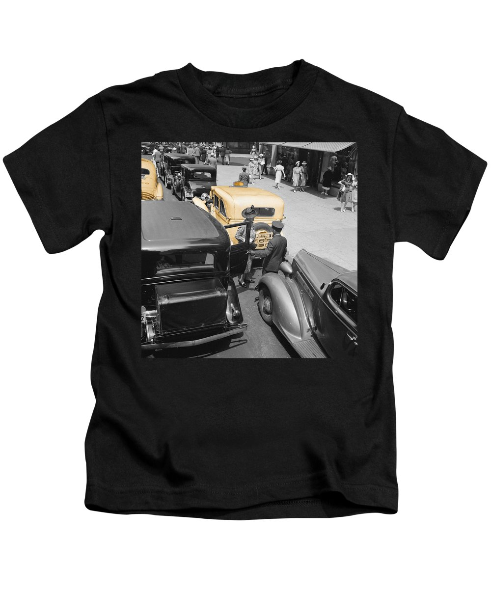 New York Kids T-Shirt featuring the photograph Vintage Checker Cabs by Andrew Fare