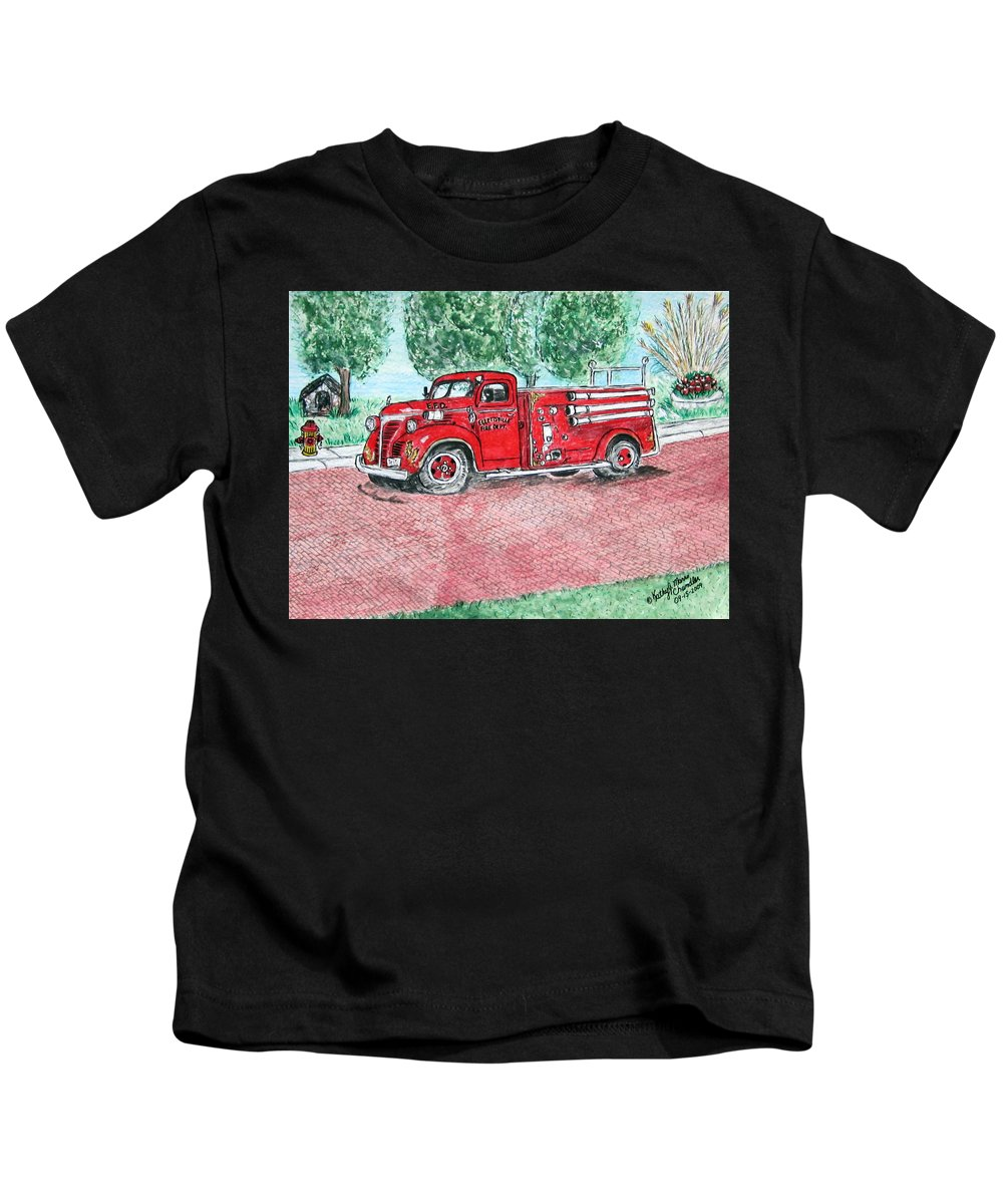 Firetruck Kids T-Shirt featuring the painting Vintage Firetruck by Kathy Marrs Chandler