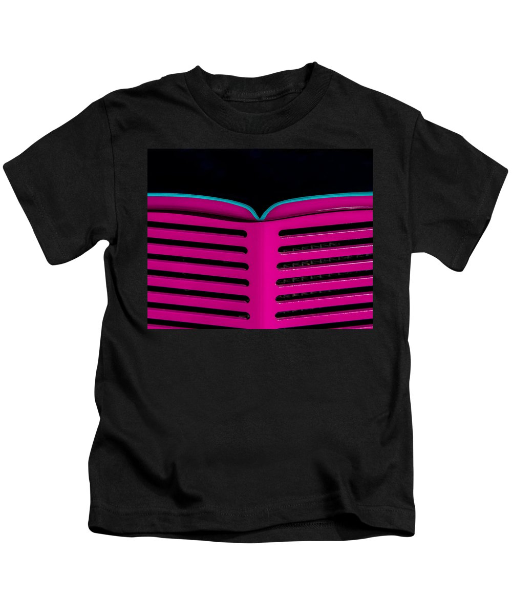 Car Kids T-Shirt featuring the photograph Vintage Pink Grille by Lindley Johnson