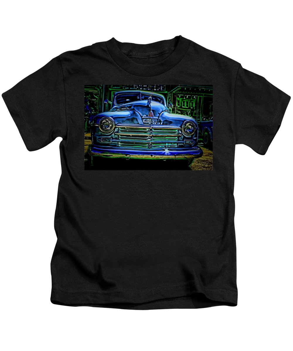 Plymouth Kids T-Shirt featuring the photograph Vintage Plymouth Navy Metalic Art by Lesa Fine