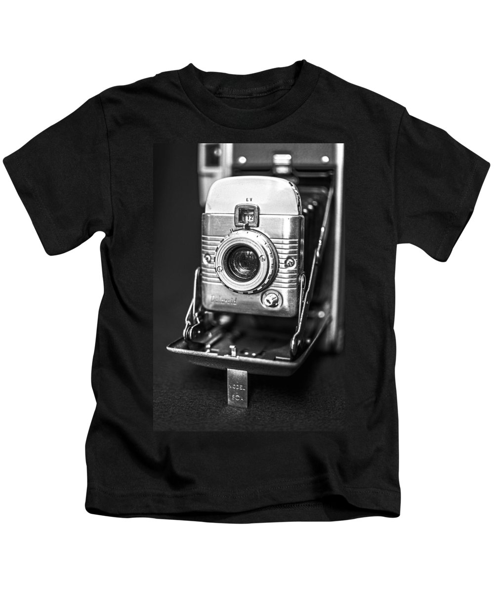Vintage Kids T-Shirt featuring the photograph Vintage Polaroid Land Camera Model 80a by Jon Woodhams