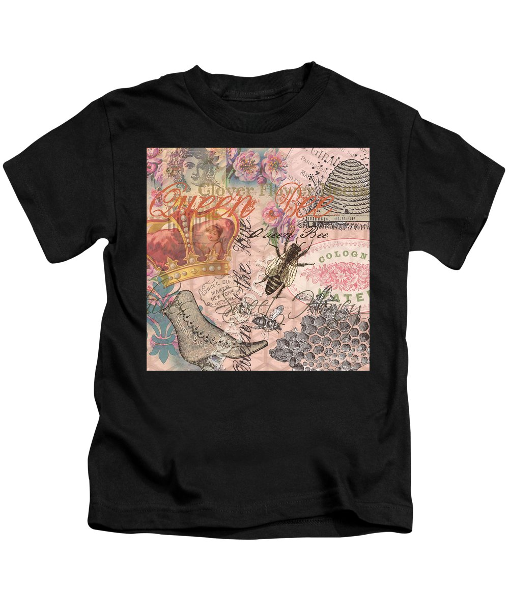 Doodlefly Kids T-Shirt featuring the digital art Vintage Queen Bee Collage by Mary Hubley