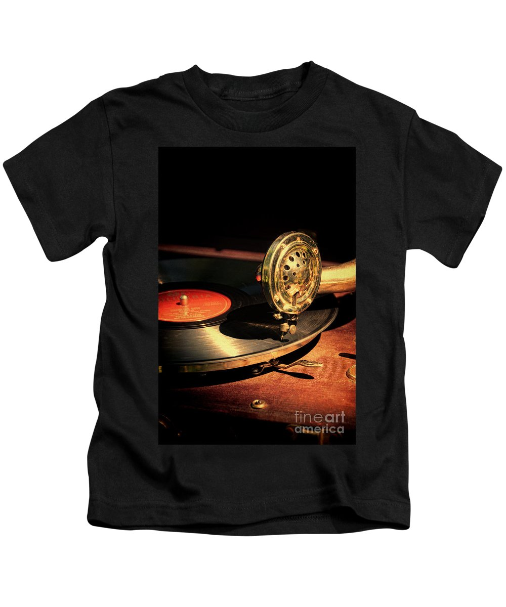 Vintage Kids T-Shirt featuring the photograph Vintage Record Player by Jill Battaglia
