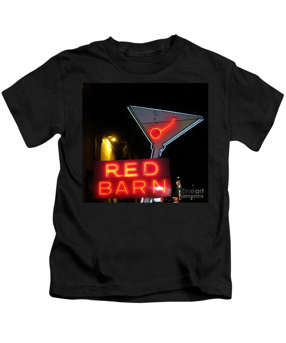 Las Vegas Kids T-Shirt featuring the photograph Vintage Red Barn Neon Sign Las Vegas by John Malone