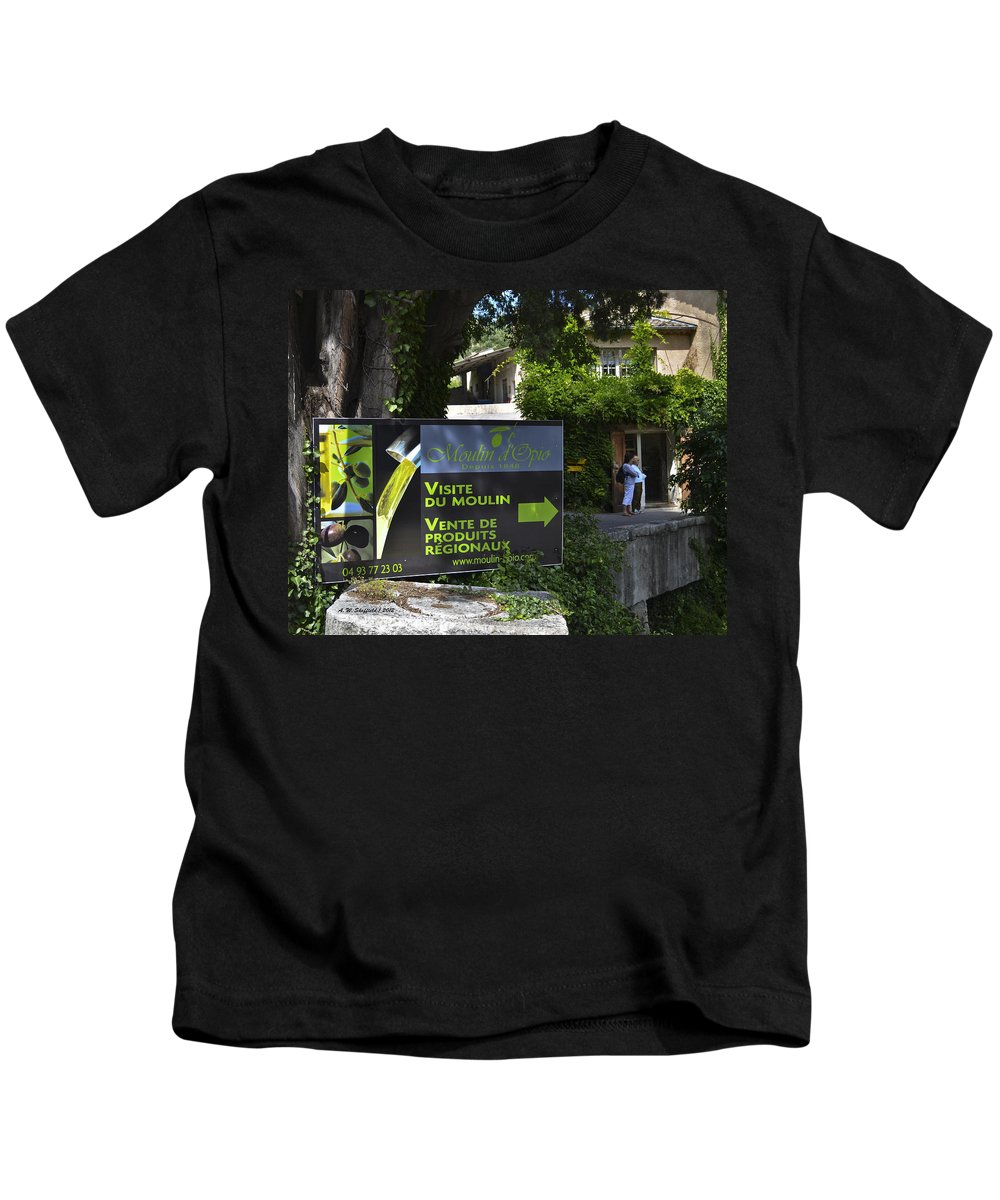 Olive Mill Kids T-Shirt featuring the photograph Visite Du Moulin by Allen Sheffield