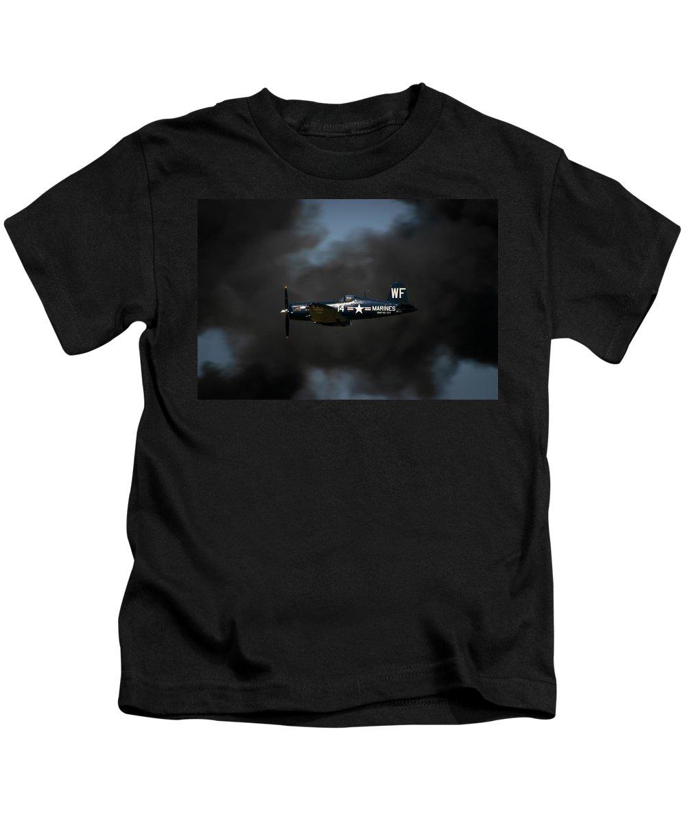 3scape Kids T-Shirt featuring the photograph Vought F4u Corsair by Adam Romanowicz