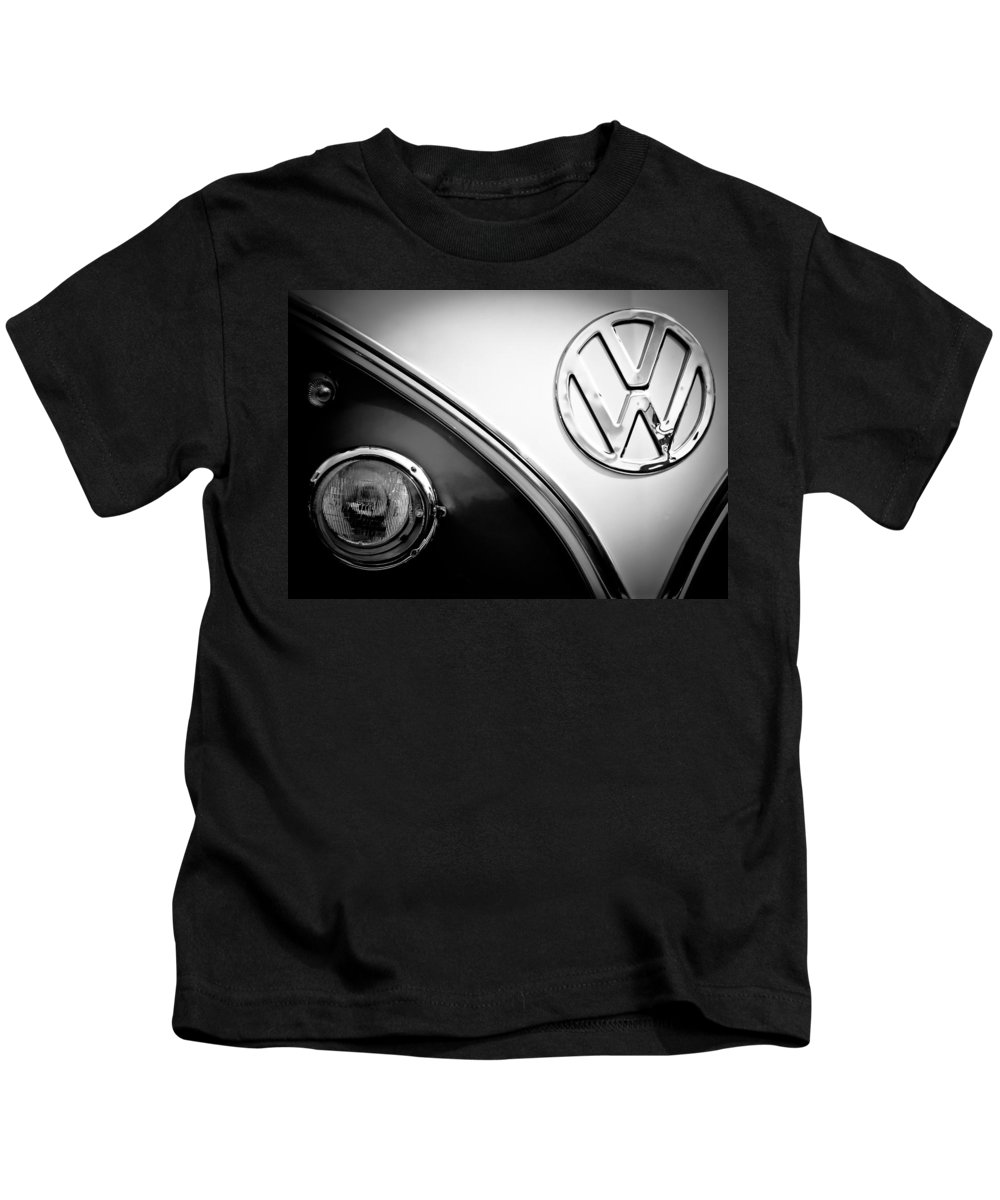 Vw Bus Kids T-Shirt featuring the photograph Vw Emblem Black And White by Athena Mckinzie