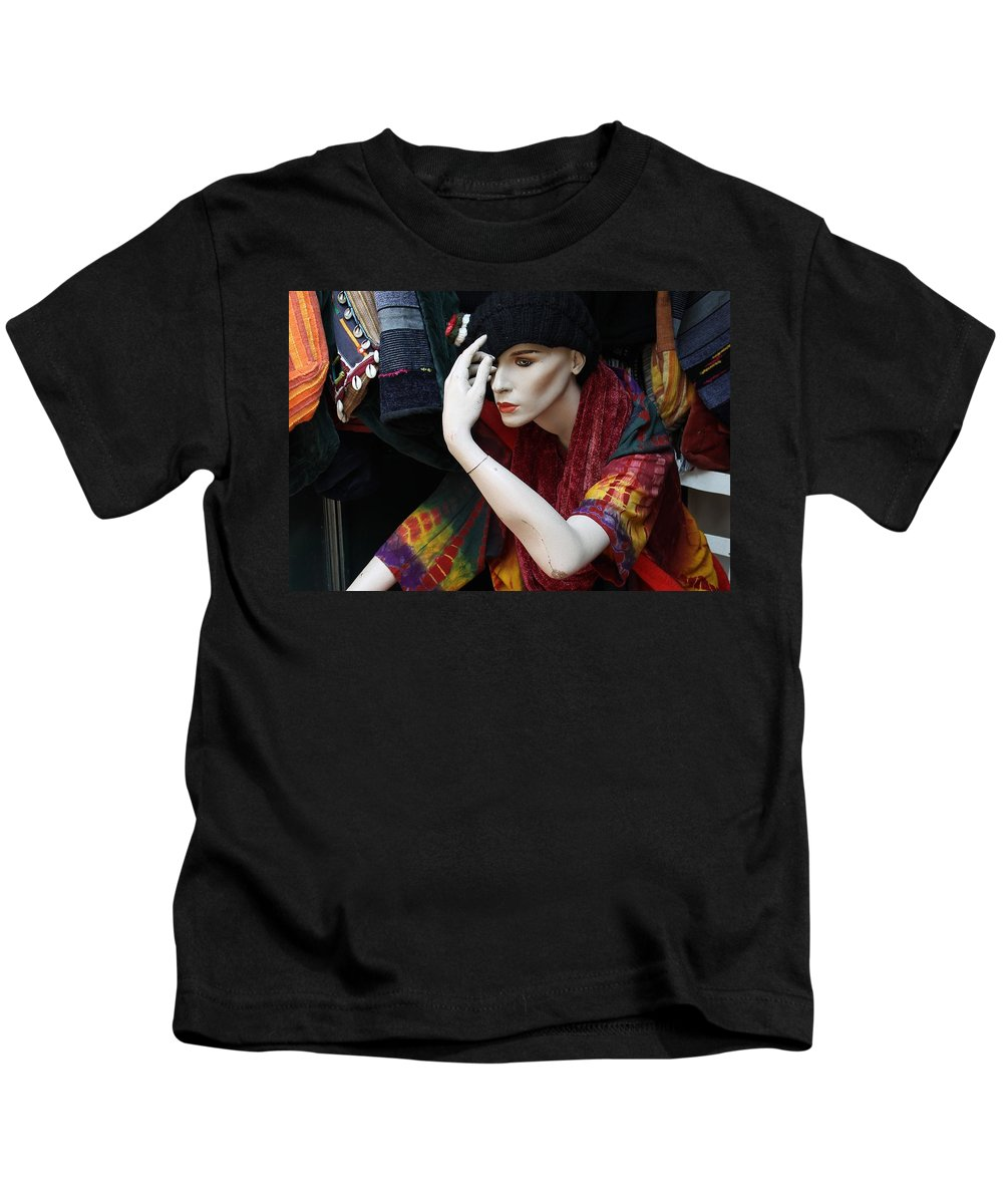 Photograph Woman Girl Model Color Colorful Sitting Store Window Mannequin Expressionism Impressionism Portrait Face Erotic Lips Red Kids T-Shirt featuring the photograph Waiting For Mr.right by Steve K