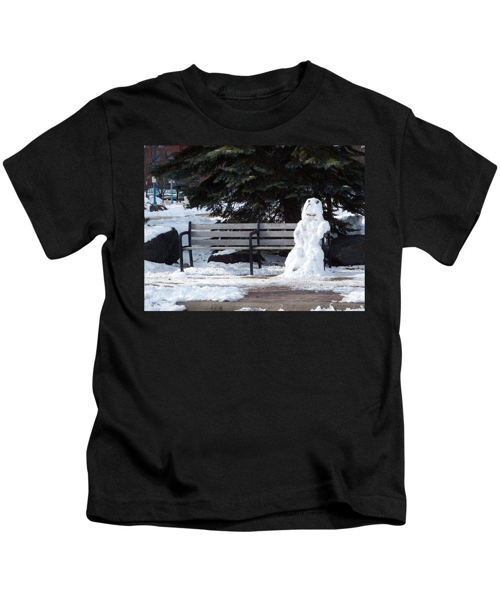 Snow Kids T-Shirt featuring the photograph Waiting On Spring by Alison Gimpel