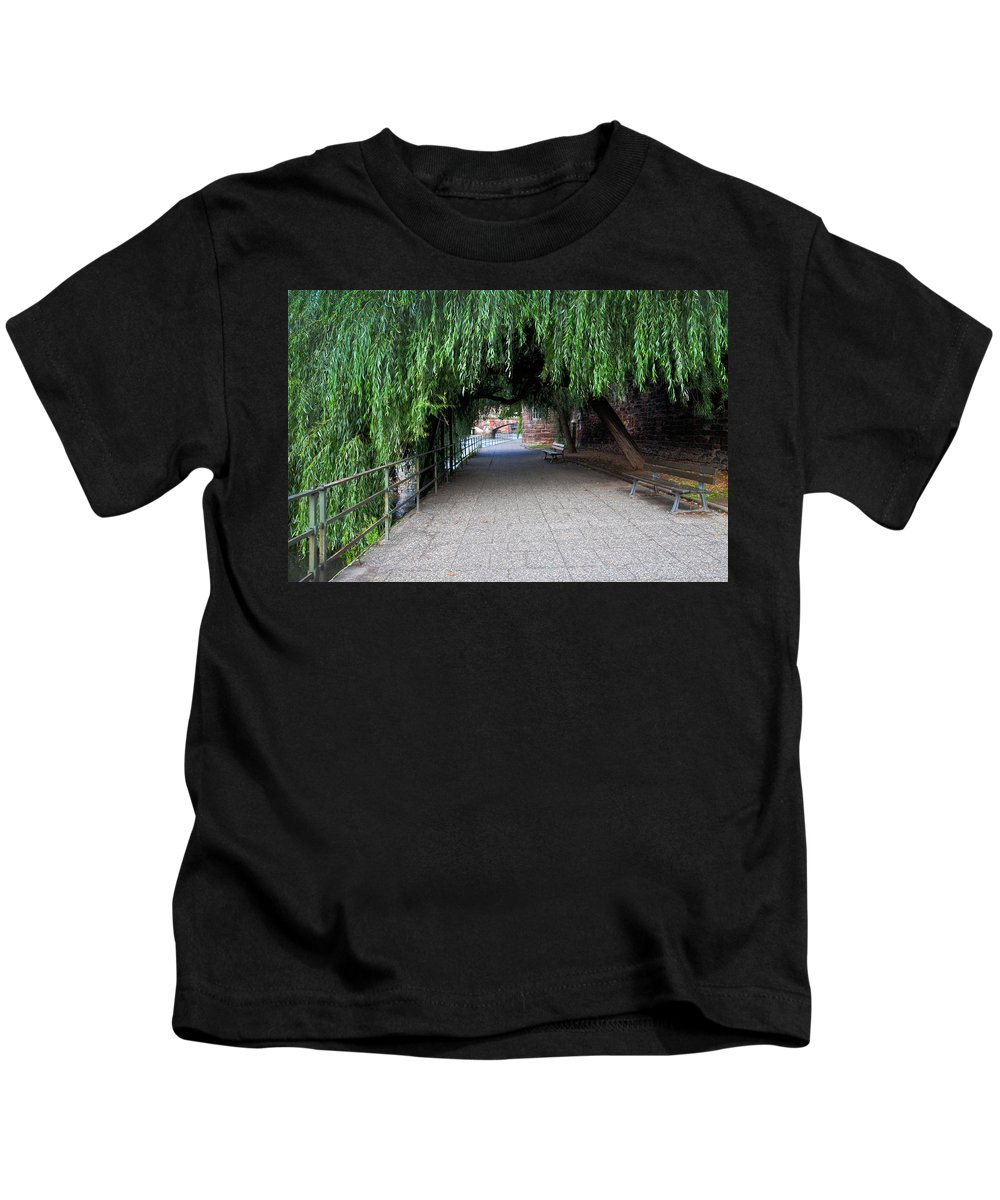 Walkway Kids T-Shirt featuring the photograph Walkway By The River by Dave Mills