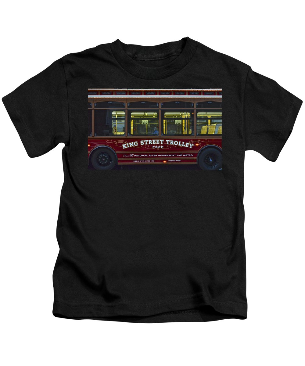 Washington Kids T-Shirt featuring the photograph Washington Dc Trolley by Frozen in Time Fine Art Photography