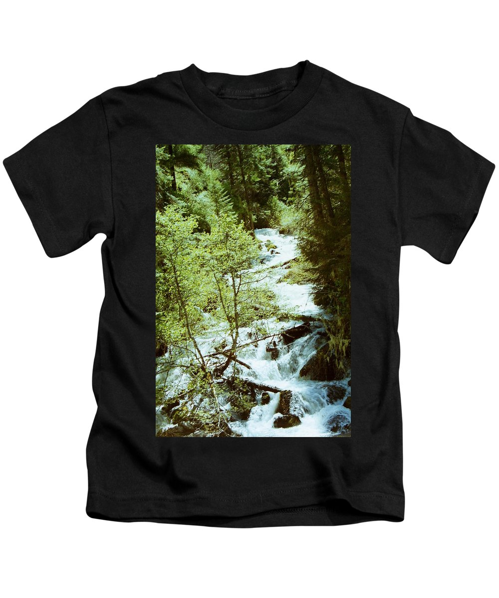 Idaho Kids T-Shirt featuring the photograph water fall Lolo pass 2 by Mike Wheeler