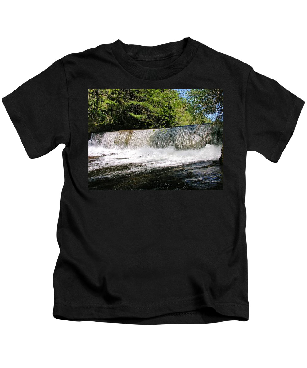 Waterfall Kids T-Shirt featuring the photograph Waterfall In Woodstock Vermont by Sherman Perry