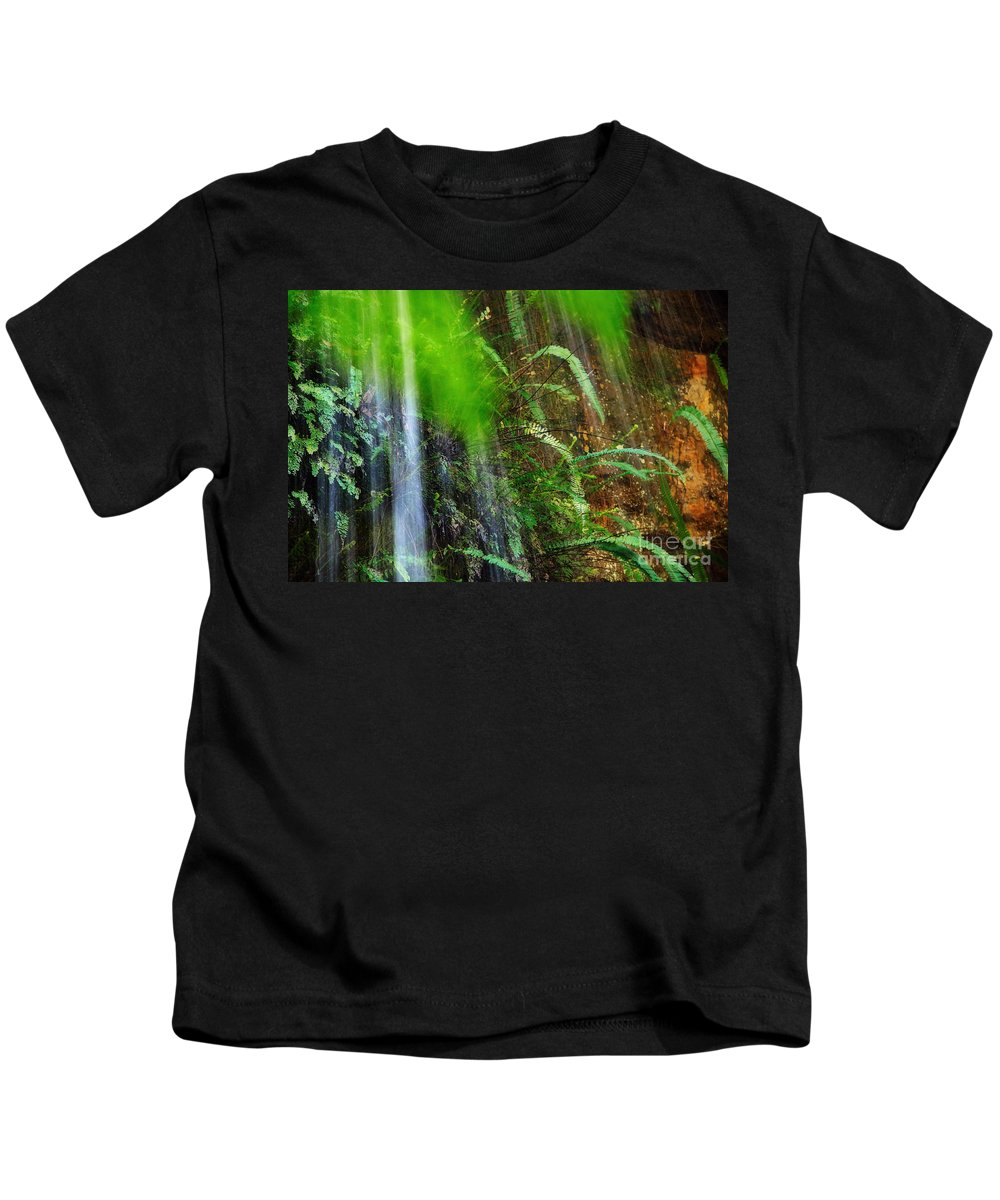 Photography Kids T-Shirt featuring the photograph Waterfall Over Ferns by Kaye Menner