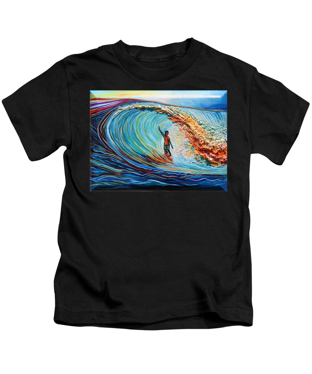 Ocean Kids T-Shirt featuring the painting Wave Surfer by Kate Fortin