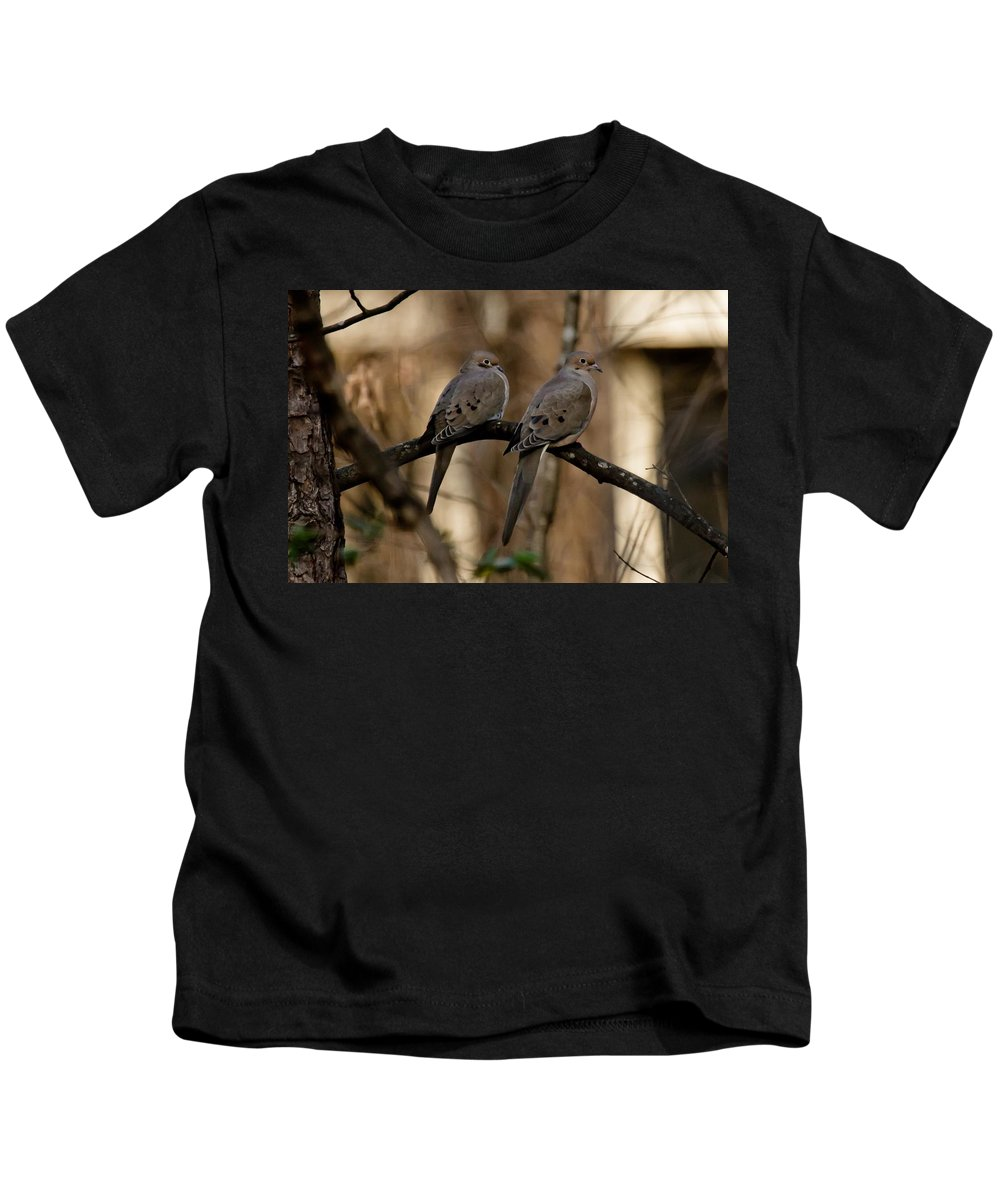 Morning Dove Kids T-Shirt featuring the photograph We Came Together - We're Leaving Together by Robert L Jackson