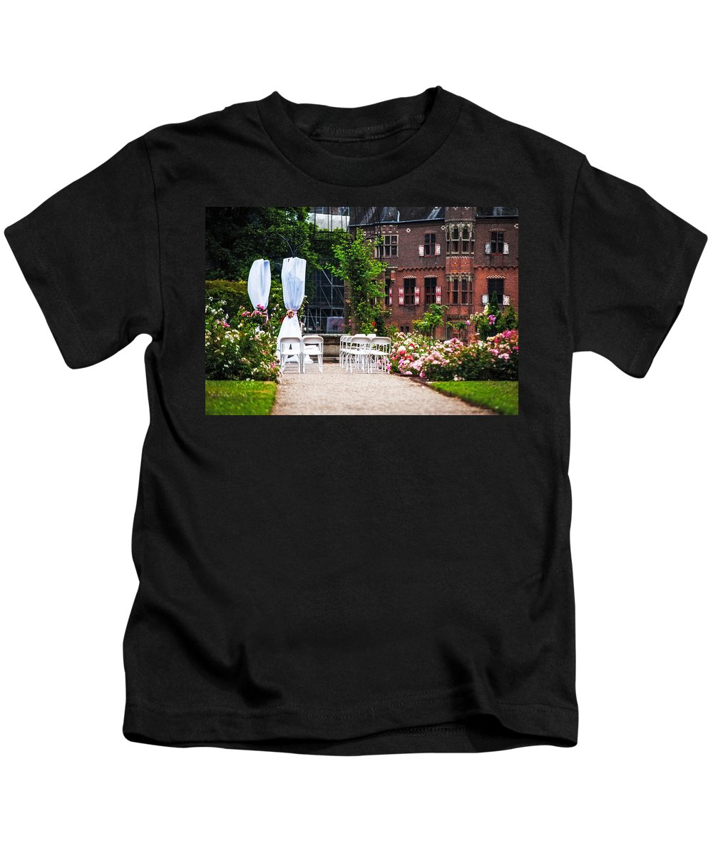 Jenny Rainbow Fine Art Photography Kids T-Shirt featuring the photograph Wedding Arrangement In De Haar Castle. Utrecht by Jenny Rainbow
