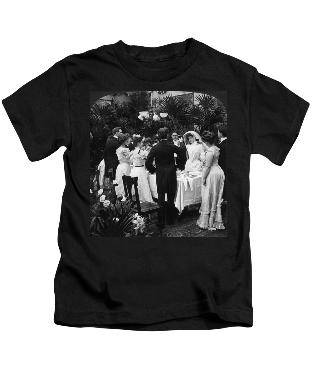 1904 Kids T-Shirt featuring the photograph Wedding Party, 1904 by Granger