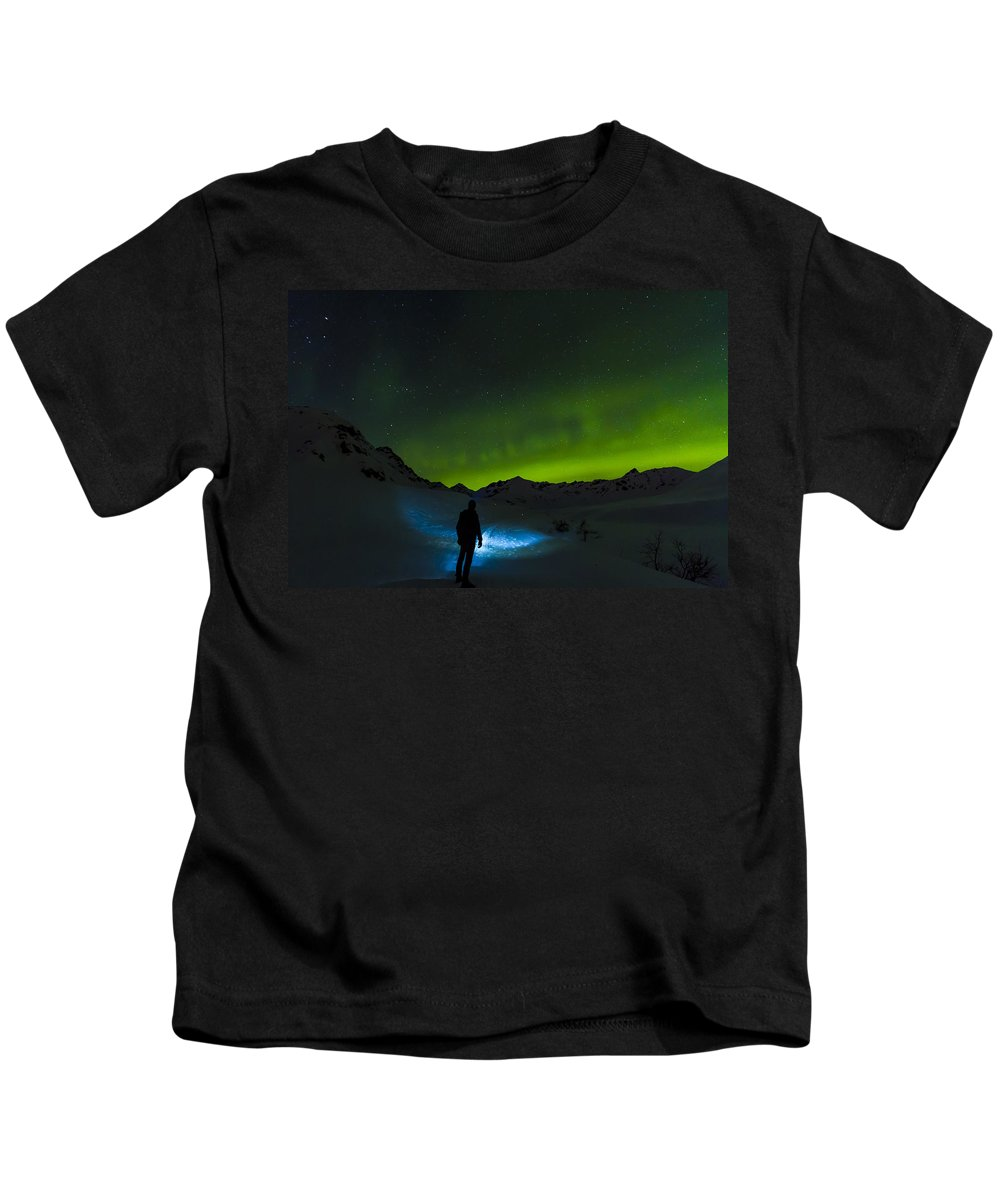 Aurora Kids T-Shirt featuring the photograph Welcomed In The Dark by Kyle Lavey
