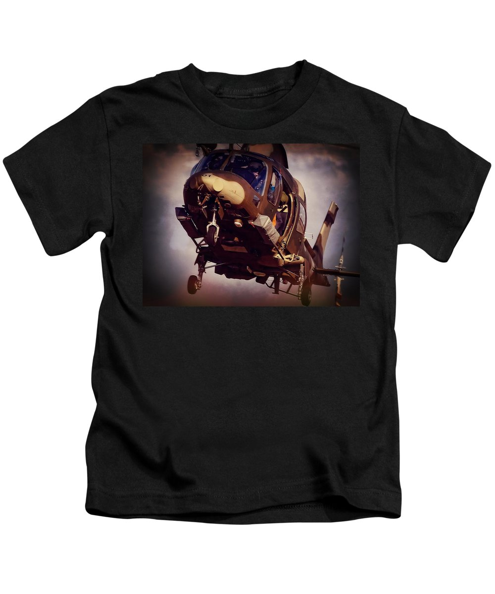 Agusta Westland A109 Luh Kids T-Shirt featuring the photograph Were To Land by Paul Job