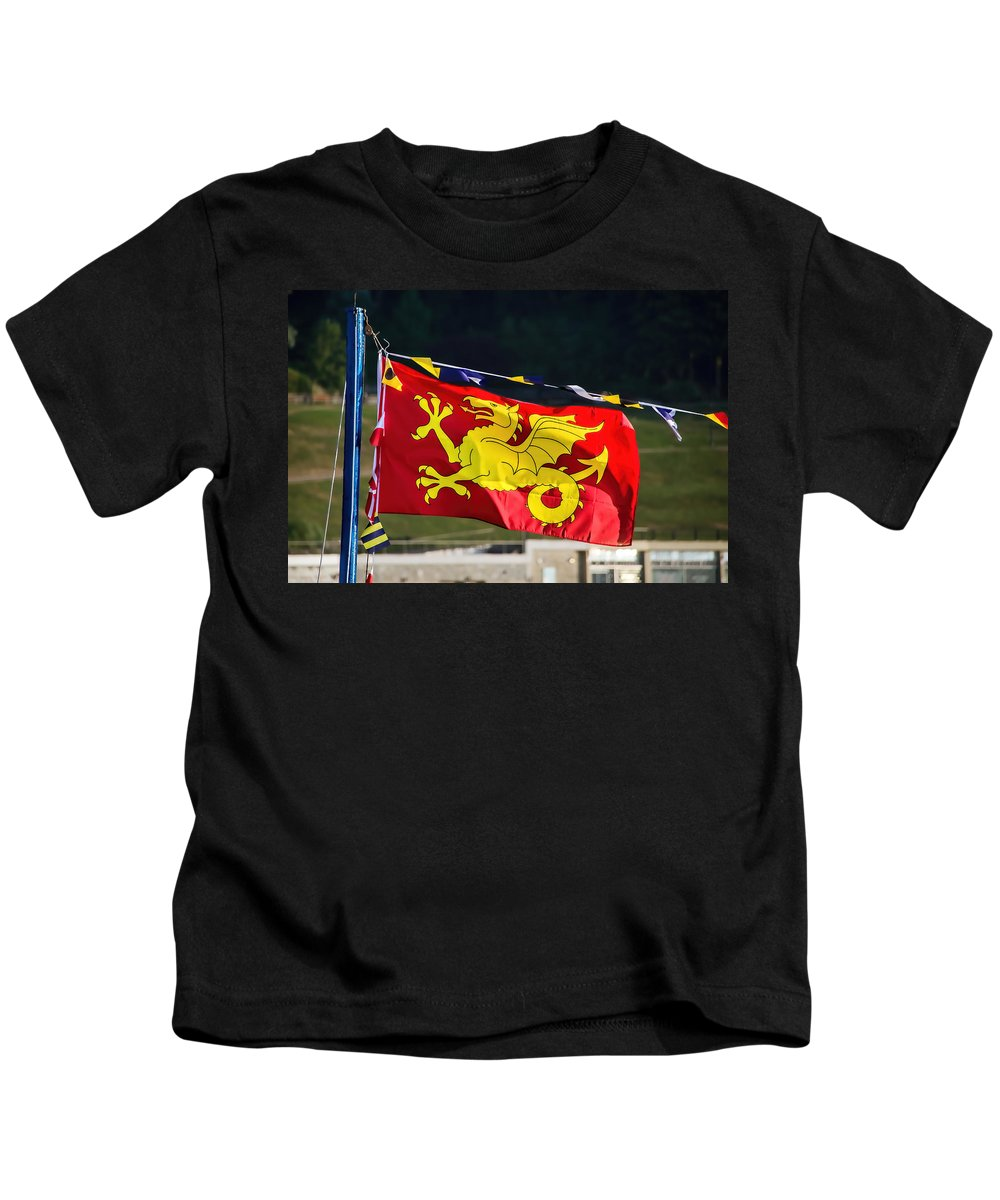Wessex Kids T-Shirt featuring the photograph Wessex Wyvern Flag by Susie Peek