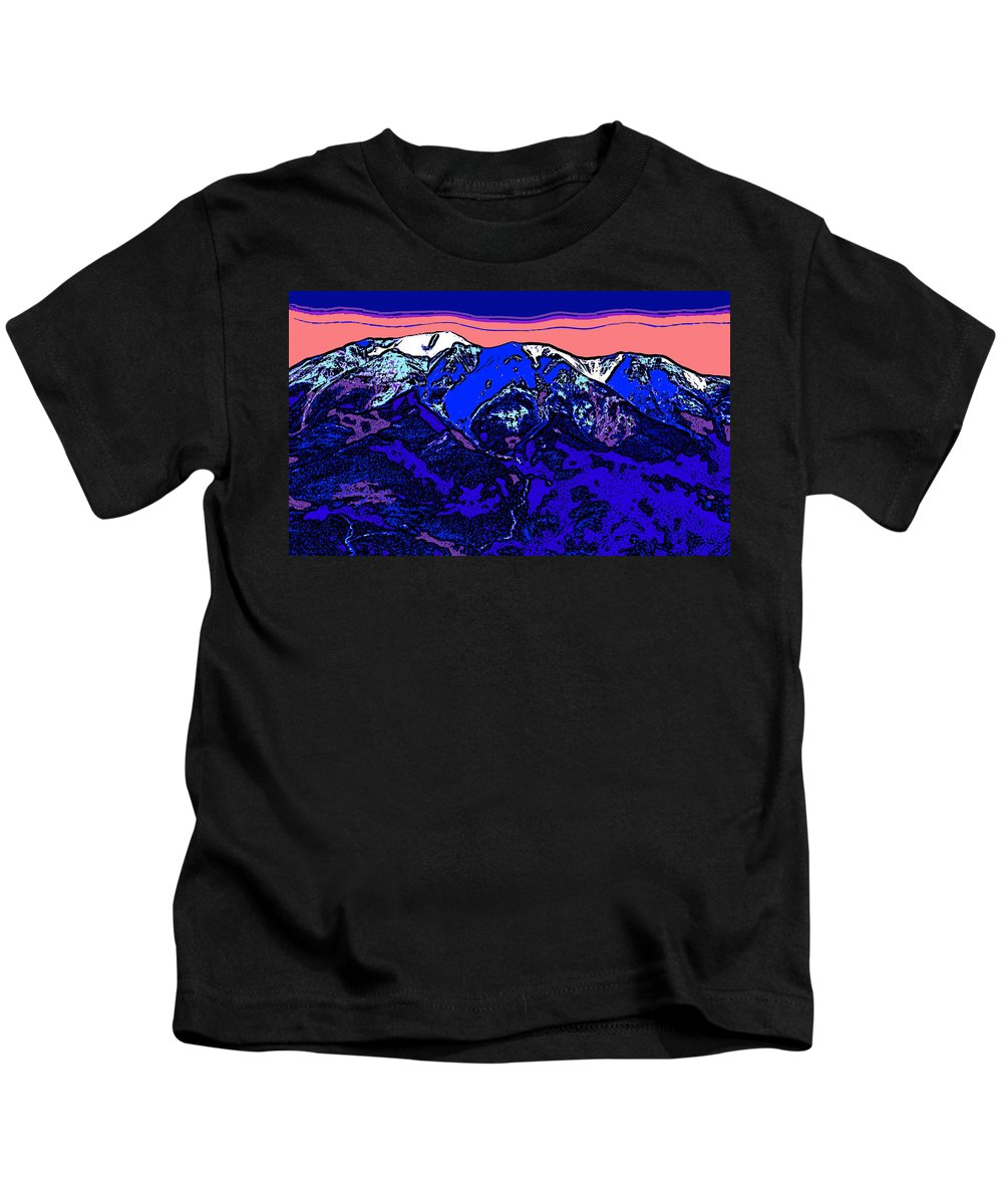 west Spanish Peak Kids T-Shirt featuring the digital art West Spanish Peak- Colorado by David G Paul