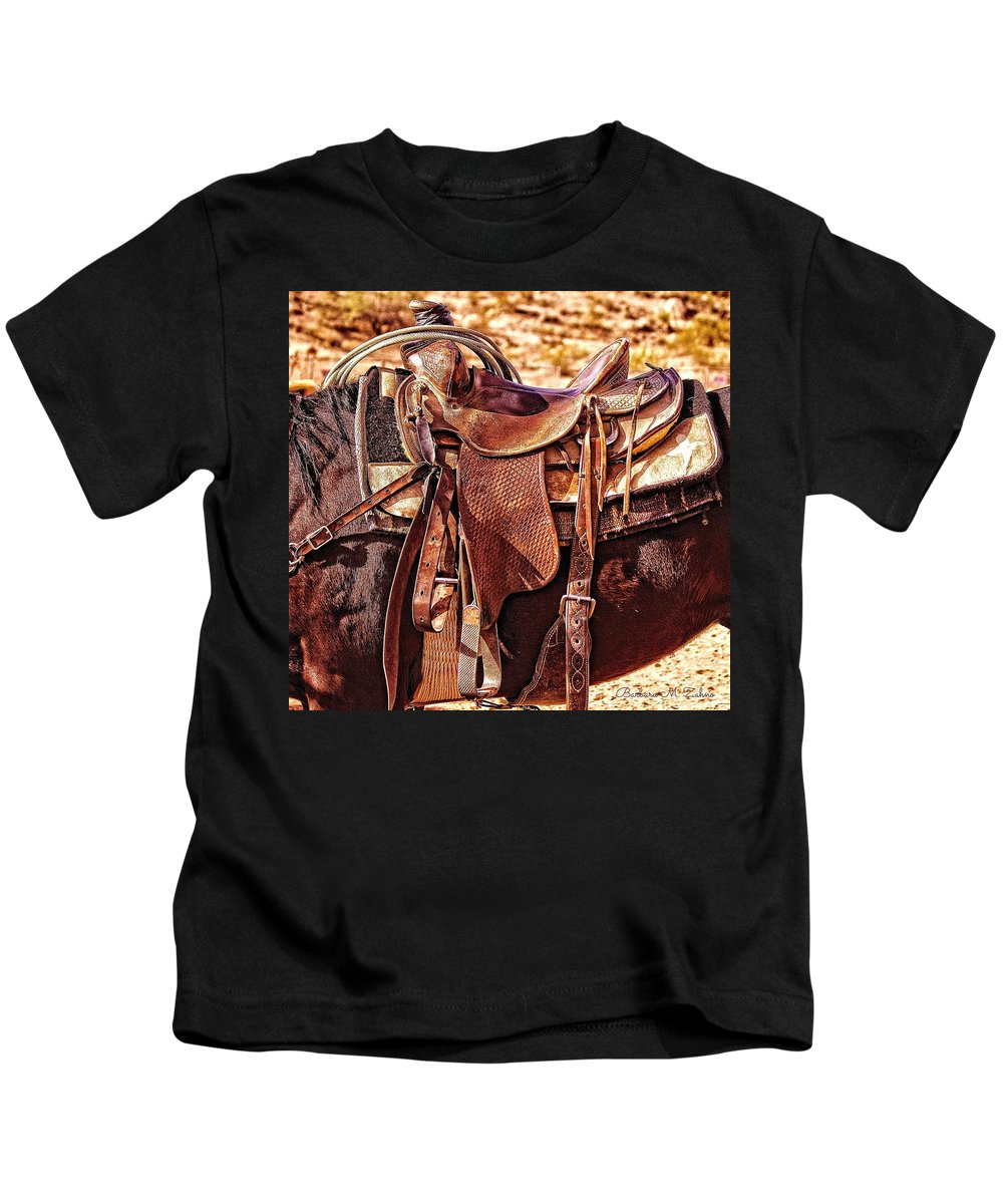 Horses Kids T-Shirt featuring the photograph Western Saddle by Barbara Zahno