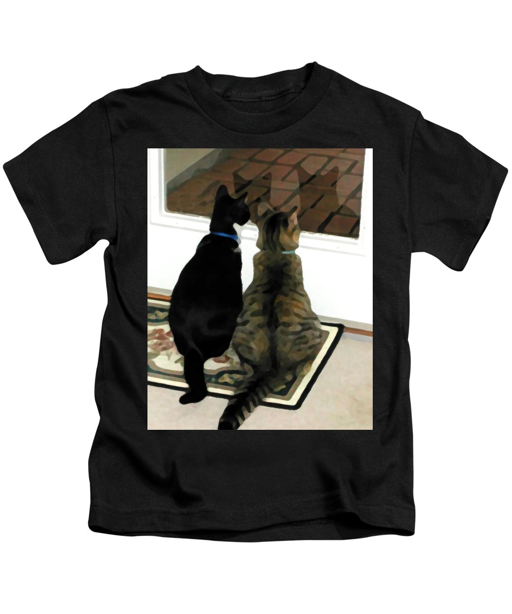 Black And White Kids T-Shirt featuring the photograph What Do You See by Jeanne A Martin
