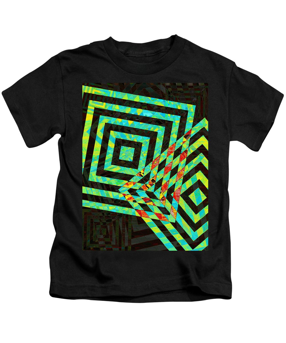 Squares Kids T-Shirt featuring the photograph When Squares Merge Green by David Pantuso