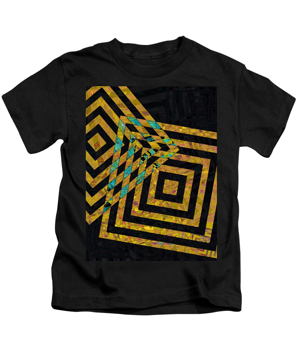 Squares Kids T-Shirt featuring the photograph When Squares Merge Yellow by David Pantuso