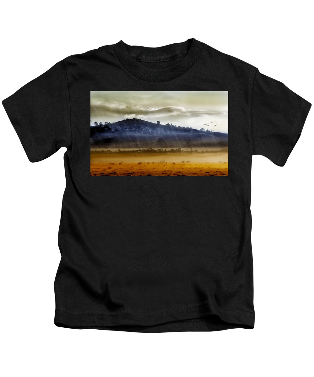 Landscapes Kids T-Shirt featuring the photograph Whisps Of Velvet Rains... by Holly Kempe