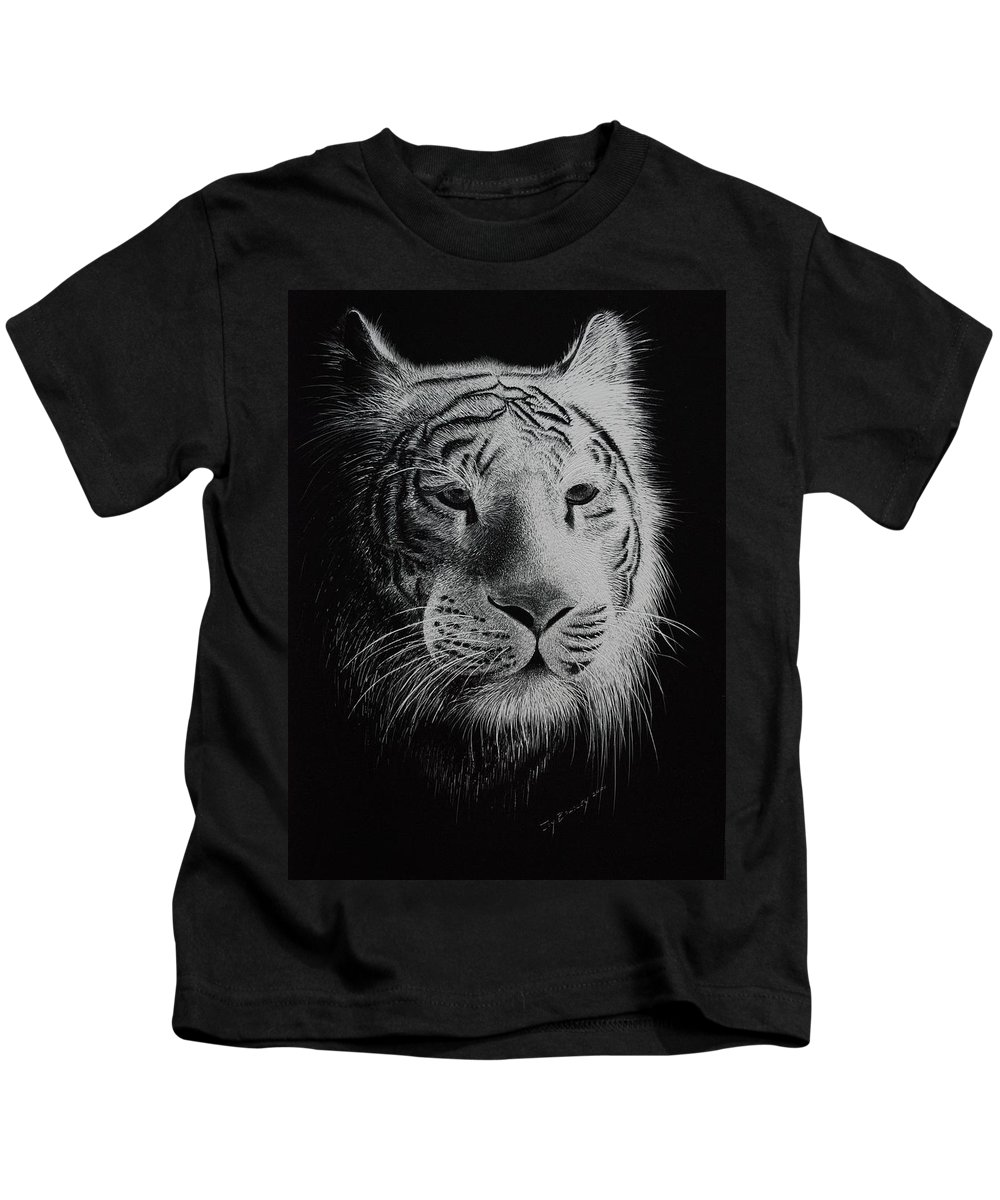 Greeting Cards Kids T-Shirt featuring the painting White Bengal Tiger by Joy Bradley