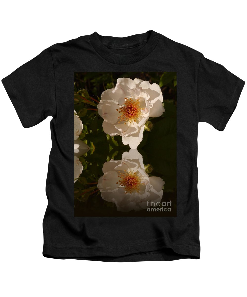 Briar Rose Kids T-Shirt featuring the photograph White Briar Rose Reflection by Christiane Schulze Art And Photography