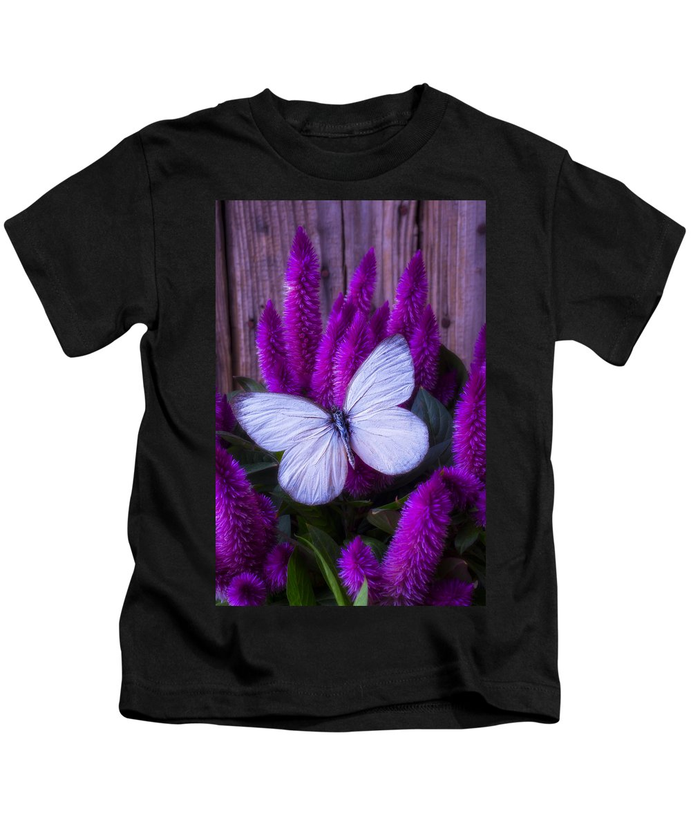 Purple Celosia Kids T-Shirt featuring the photograph White Butterfly On Flowering Celosia by Garry Gay