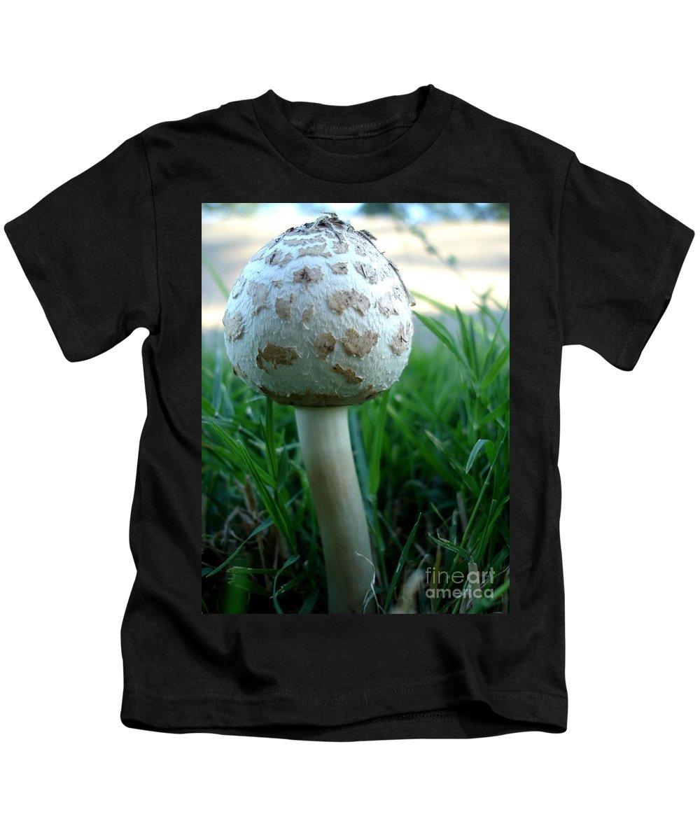White Kids T-Shirt featuring the photograph White Capped Mushroom by Kerri Mortenson