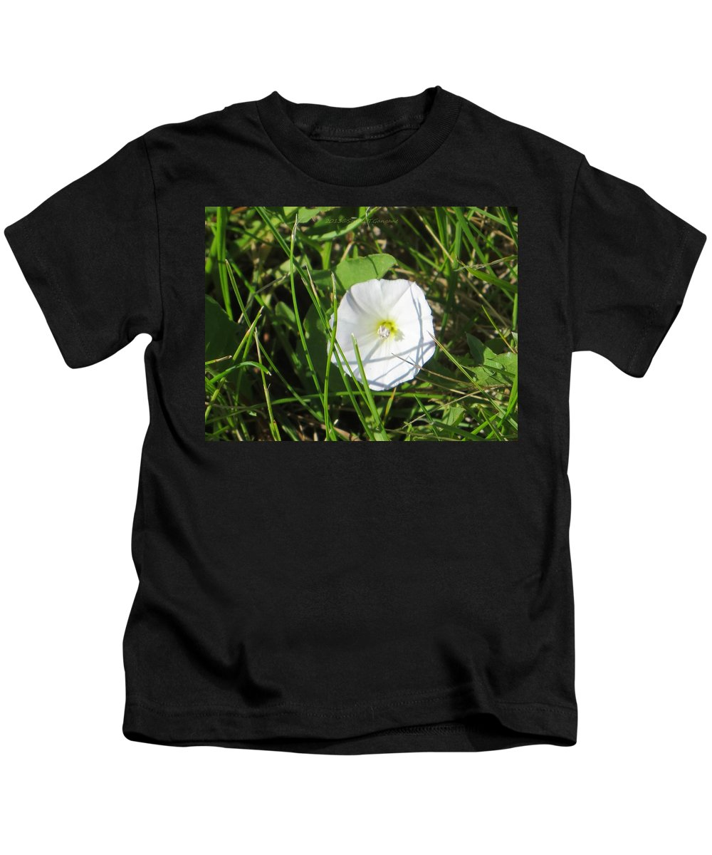 White Flower Kids T-Shirt featuring the photograph White Glow by Sonali Gangane