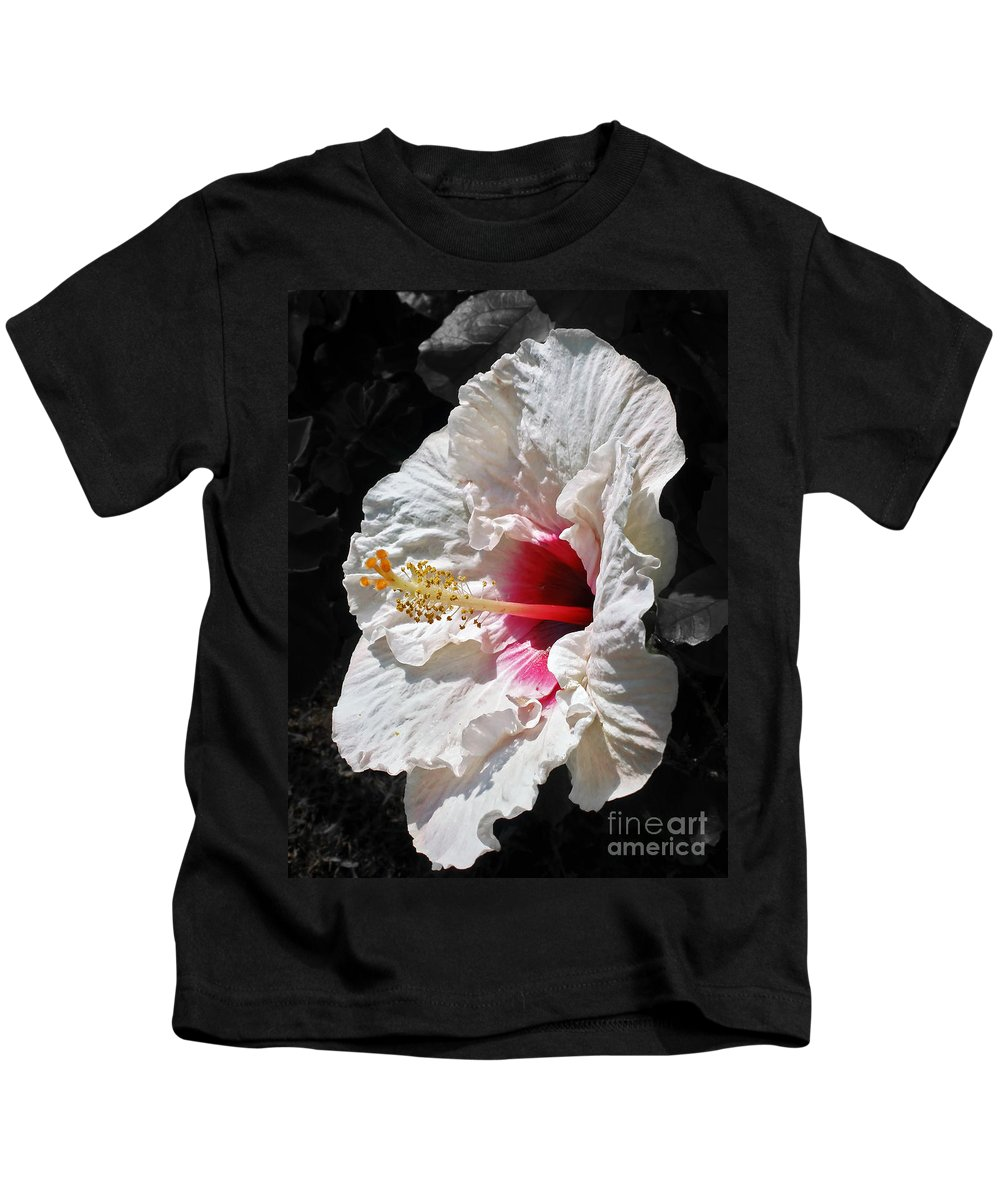 Photography Kids T-Shirt featuring the photograph White Hibiscus by Kaye Menner