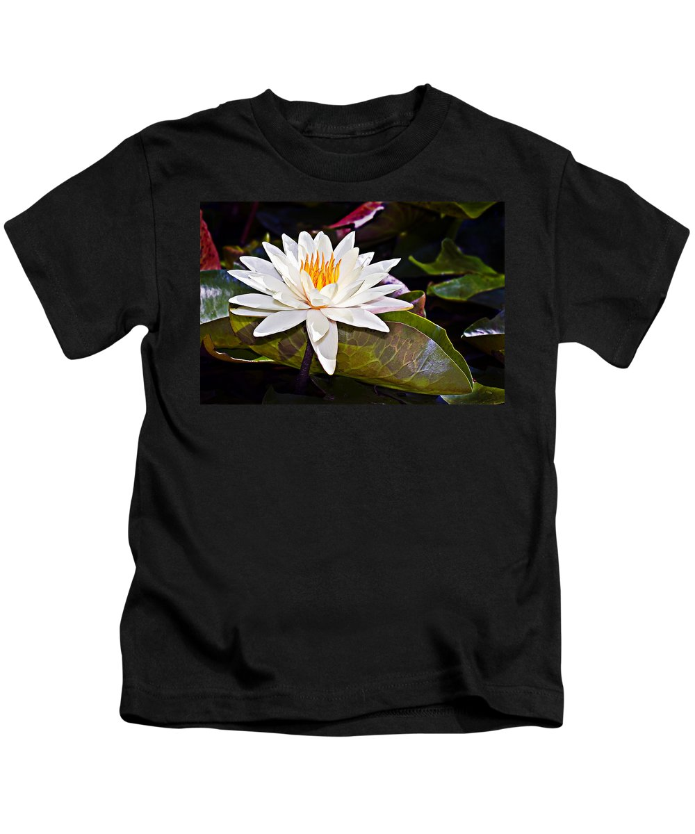 Floral Kids T-Shirt featuring the photograph White Lotus Flower by Marcia Colelli