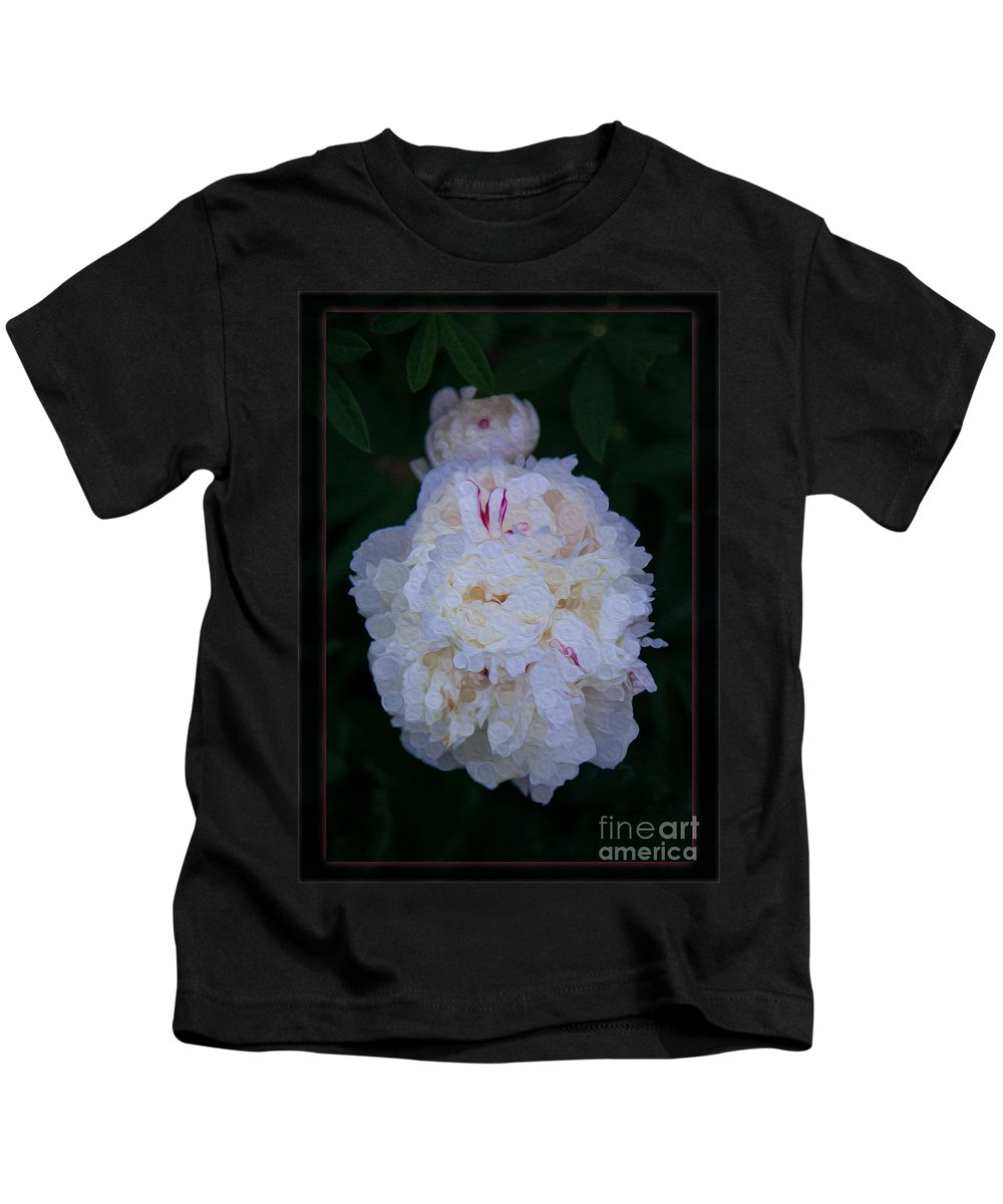 5x7 Kids T-Shirt featuring the painting White Peony And Companion Abstract Flower Painting by Omaste Witkowski
