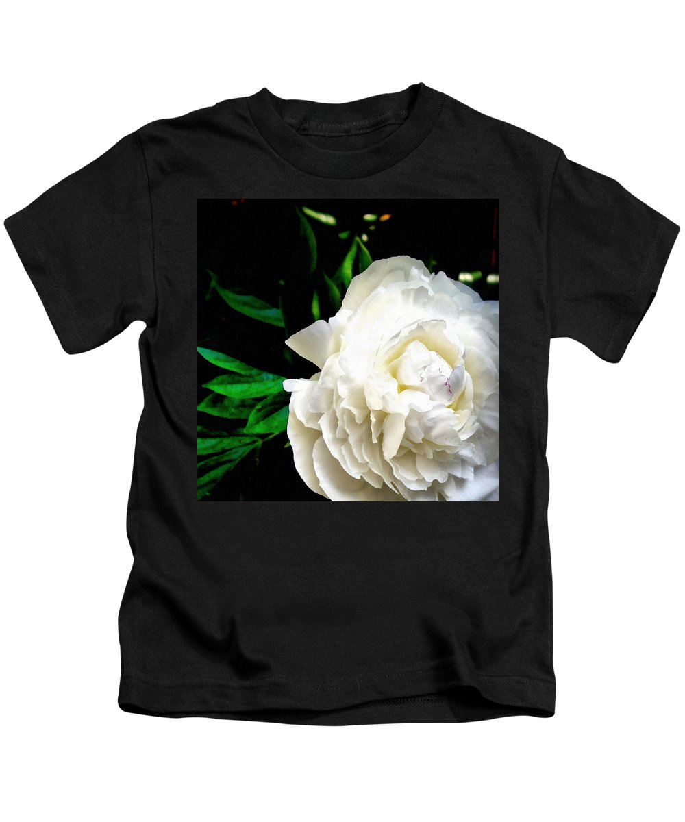 Peony Kids T-Shirt featuring the photograph White Peony by Michelle Calkins