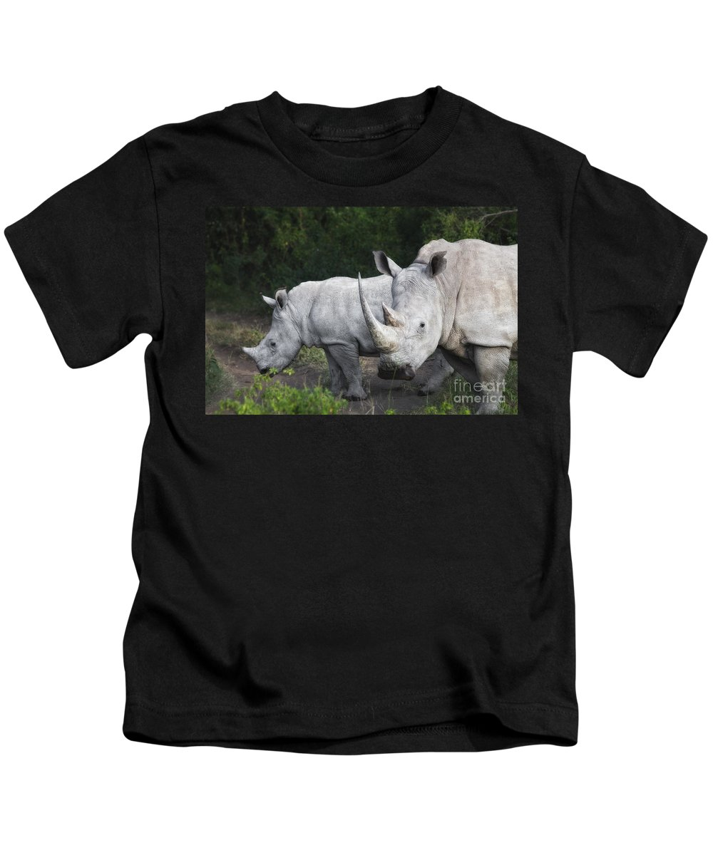 Africa Kids T-Shirt featuring the photograph White Rhinos by Timothy Hacker