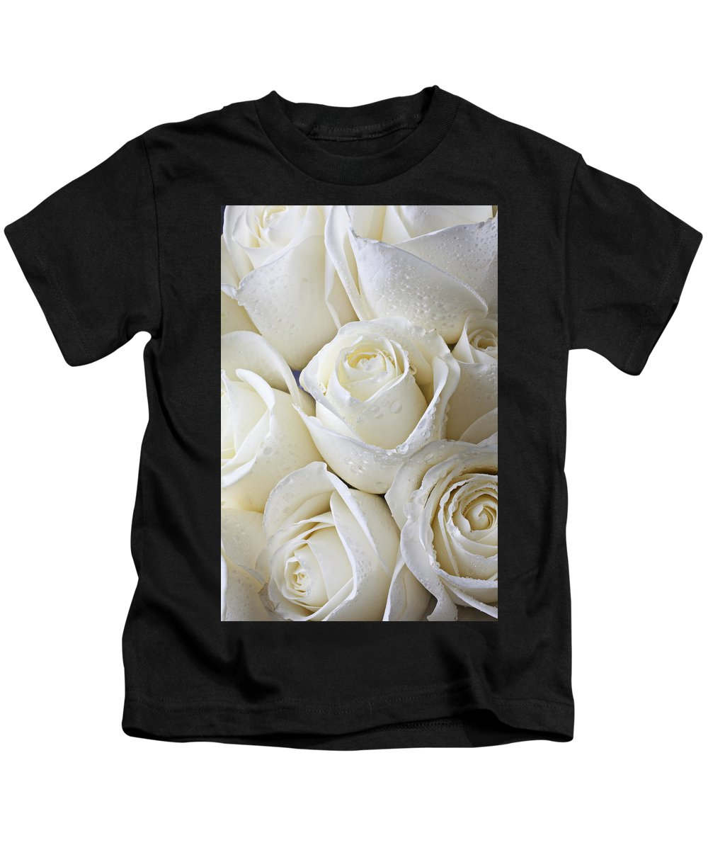 Rose White Roses Kids T-Shirt featuring the photograph White Roses by Garry Gay