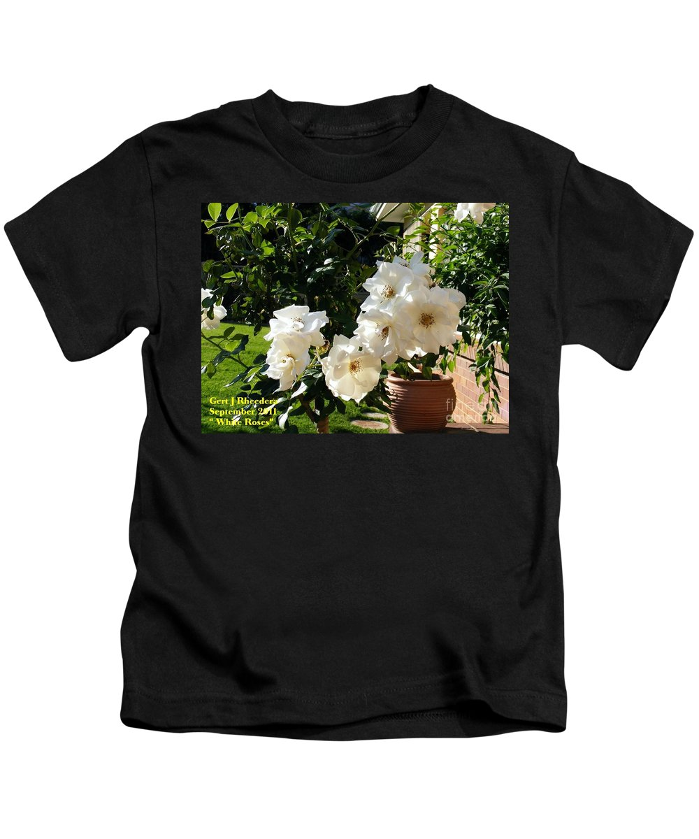 Nature Kids T-Shirt featuring the painting White Roses H A by Gert J Rheeders